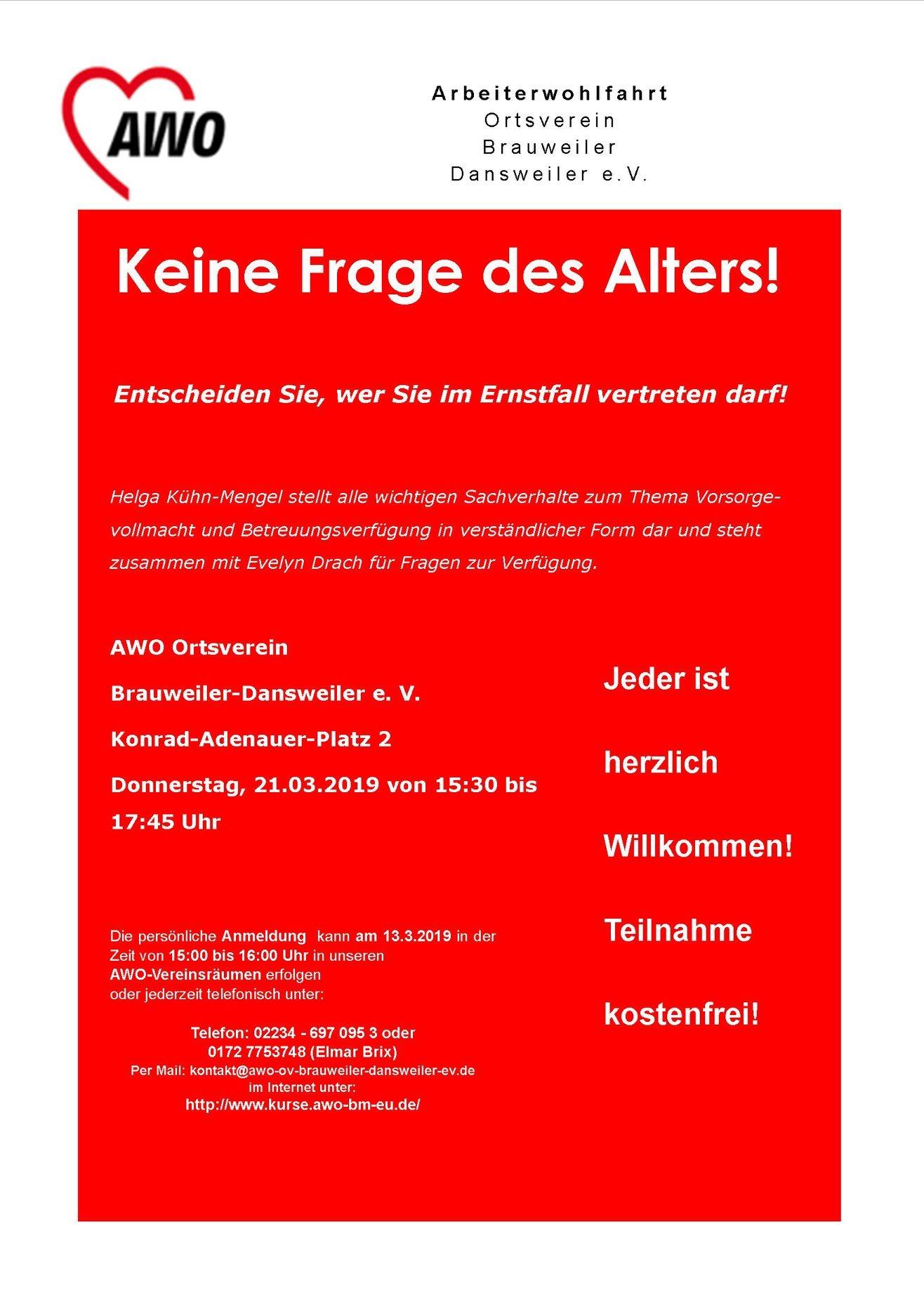 AWO: Vortrag zur Vorsorgevollmacht und Betreuungsverfügung @ Arbeiterwohlfahrt Ortsverein Brauweiler-Dansweiler e. V.